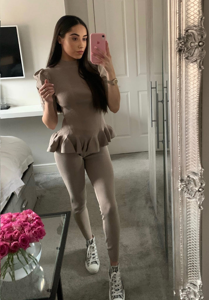 Knitted Peplum Short Sleeve Set - TAUPE