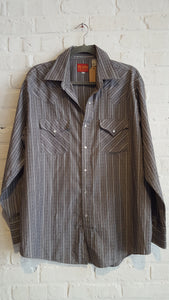 Plains Grey Western Button Down L