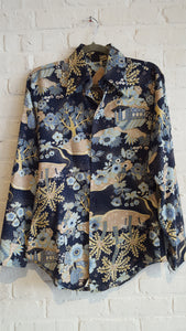 Hands Off for Sears floral shirt M