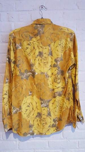 H Bar C yellow roses floral button down M