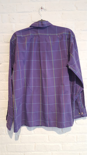 Fox Collection purple plaid button down L