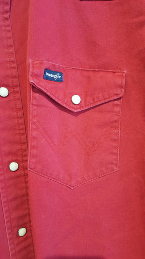 Wrangler Red snap button down M