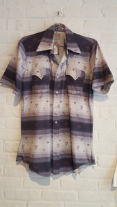 H Bar C short sleeve grey 70's button down M