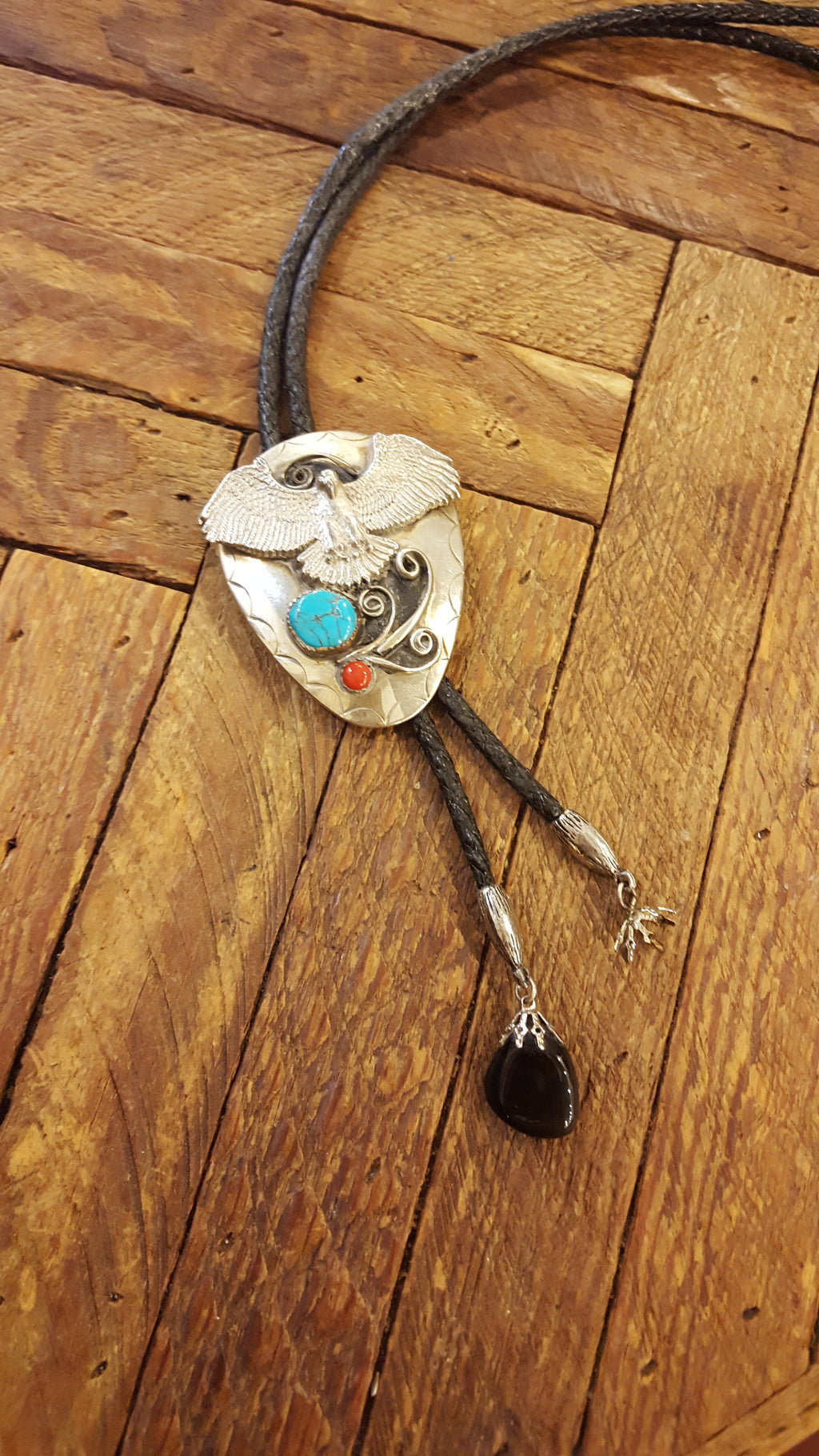 606 Eagle turquoise and coral bolo
