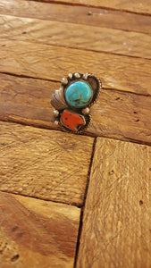 108 Turquoise and coral ring