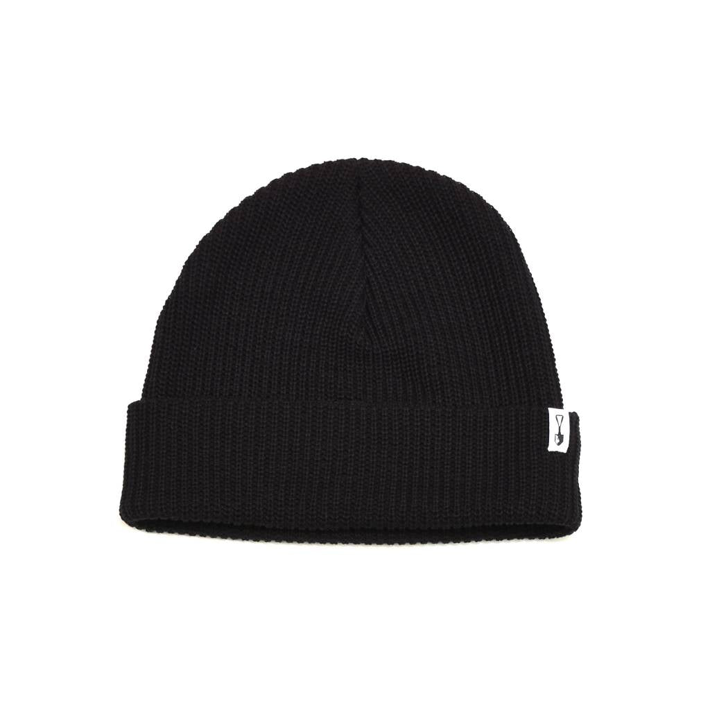 Cardigan Stitch Cotton Beanie Black
