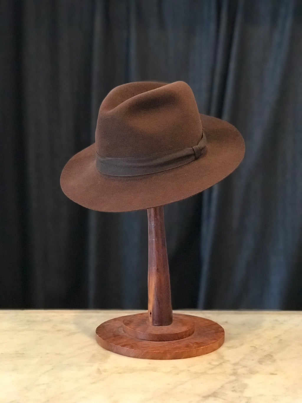 Dark Brown Le Cheval fur felt fedora size 6 7/8