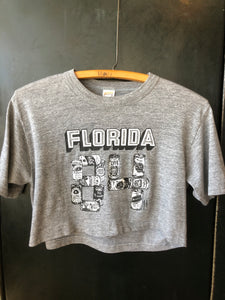 Gray 80's Florida Beer Can Crop Top Small