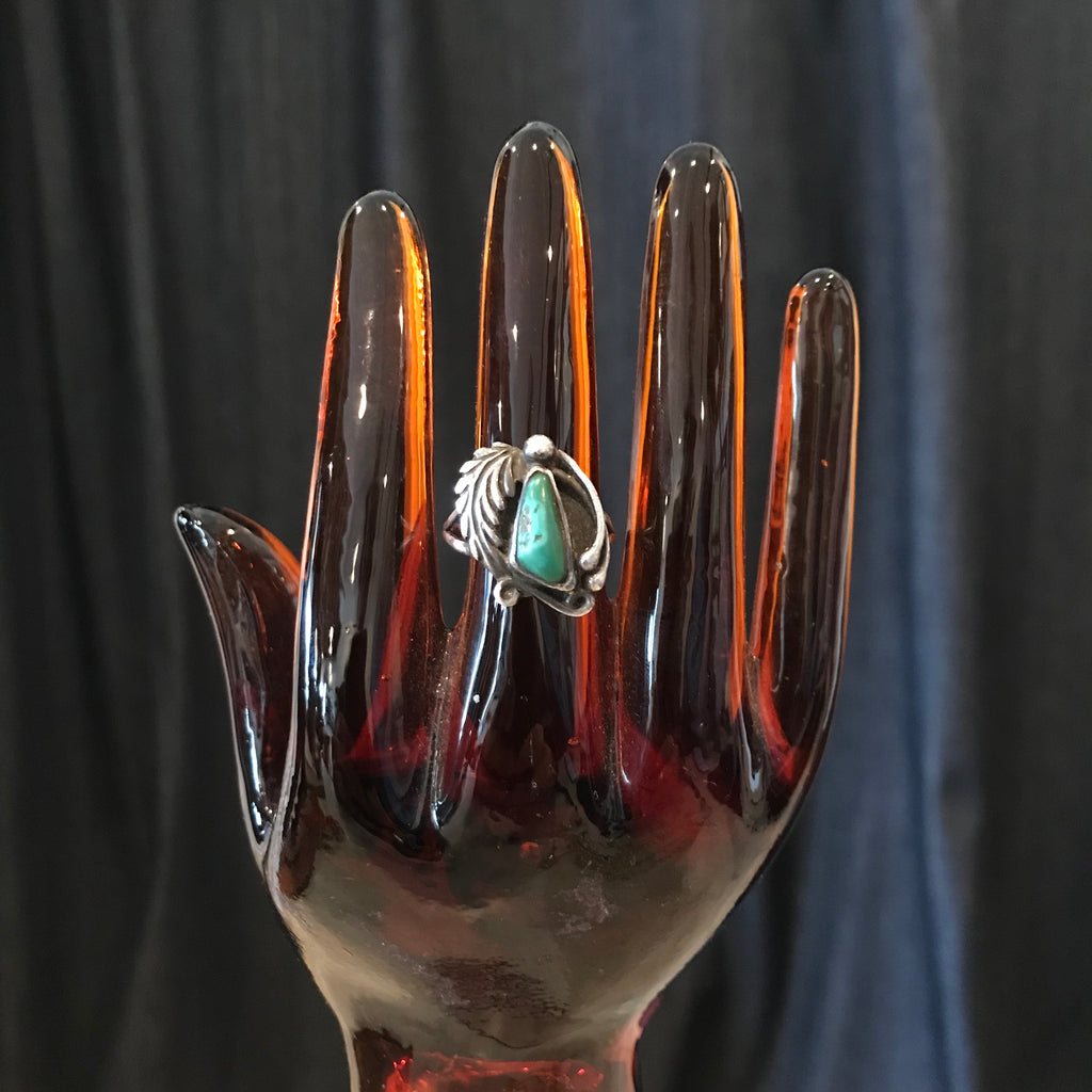 102 Sterling & Turquoise ring Size 8