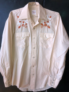 Floral Embroidered Pearl Snap Sz S