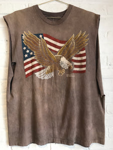 Freedom Eagle Size Cutoff Shirt  XL
