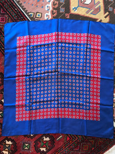 Vintage blue and red flower silk scarf