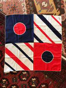 Vintage Negretti red white and blue silk scarf
