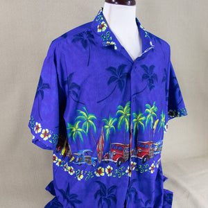 hawaiian button down car print XL