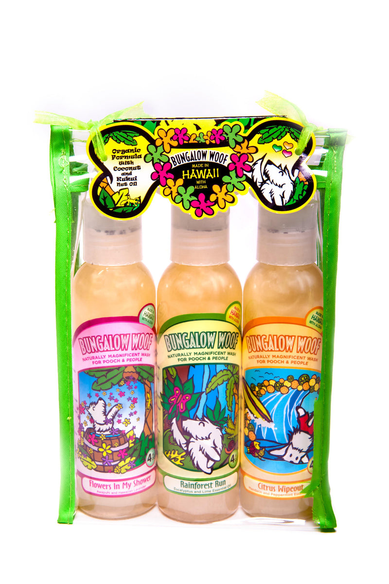 Bungalow Woof 3 Pack Hawaiian Dog Wash in Travel Case