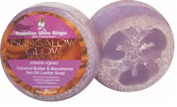 Hawaiian White Ginger with puakenikeni Premium Organics Coconut Butter Loofah Soap