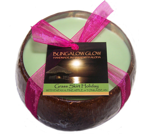 Grass Skirt Holiday Coconut Shell Soy Candle