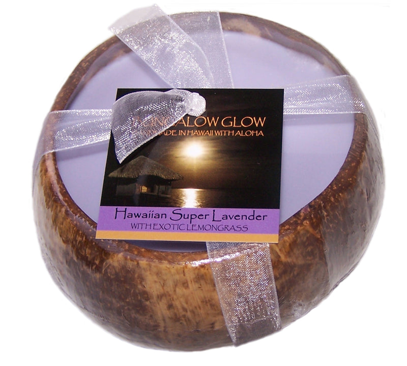 Hawaiian Super Lavender Coconut Shell Soy Candle