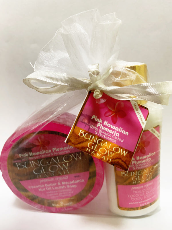 Pink Hawaii Plumeria 2oz Lotion and Loofah Soap Gift Set