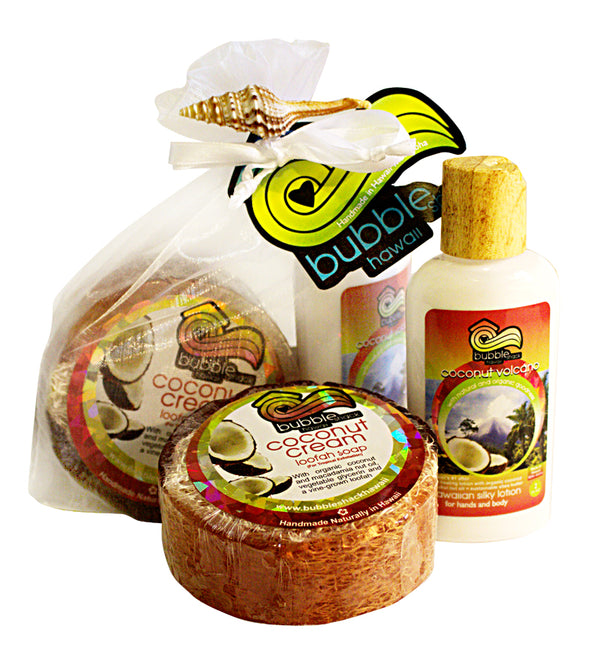 Coconut Volcano Mini Lotion and Loofah Soap Gift Set