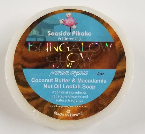 Seaside Pikake + Water Lily Premium Organics Coconut Butter Loofah Soap