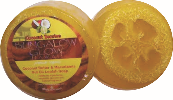 Coconut Sunrise Premium Organics Coconut Butter Sticker Loofah Soap