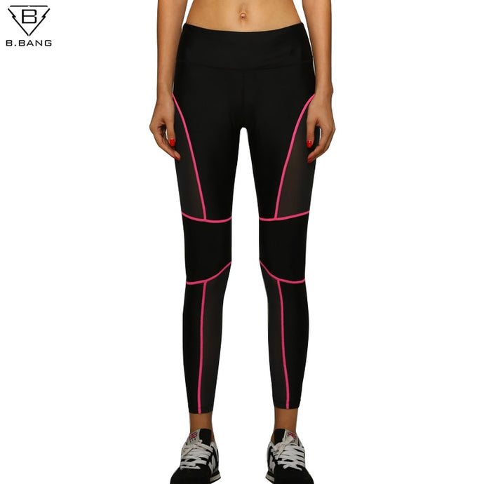 B.BANG Women Sport Running Leggings Patchwork Fitness Yoga Pants Ladies Slim Legging Quick dry Sports Tights for Gym Running