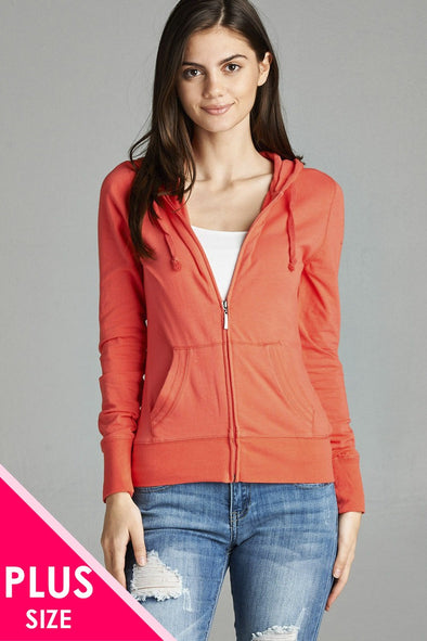 Ladies fashion plus size full zip-up closure hoodie w/long sleeves and lined drawstring hood