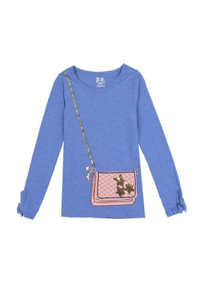 Girls a�ropostale 7-14 long sleeve fashion top with 3d flap purse pocket