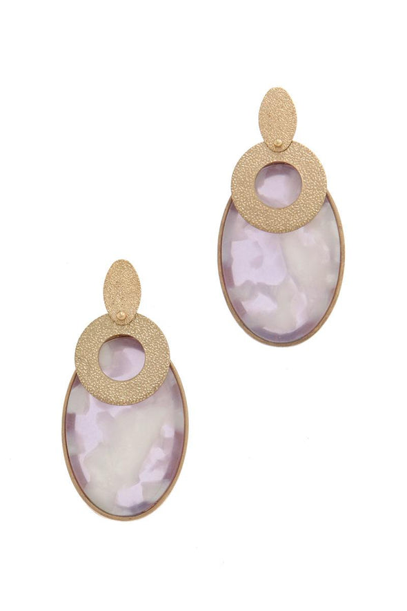 Actetate oval shape post drop earring