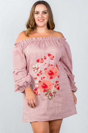 Ladies fashion plus size  puff sleeve off the shoulder dress