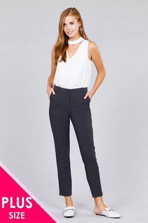 Ladies fashion plus size seam side pocket classic long pants