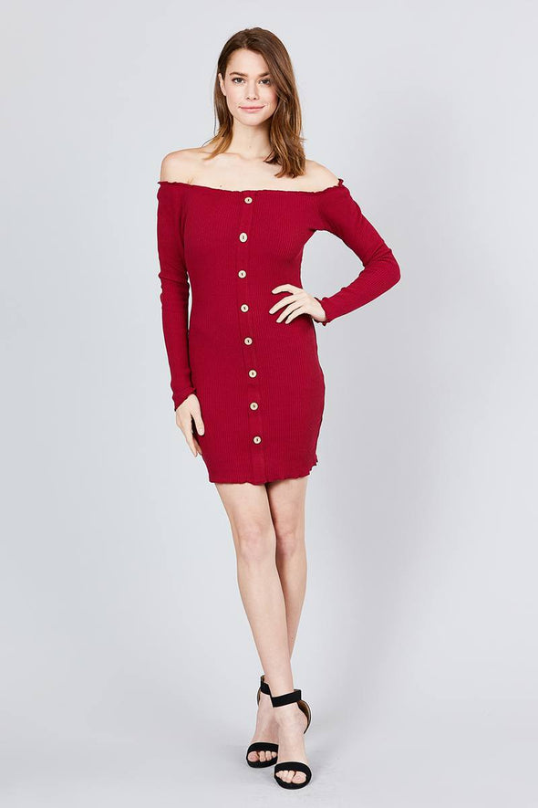Long Sleeve Button Down Detail Off The Shoulder Cotton Spandex Heavy Rib Mini Dress