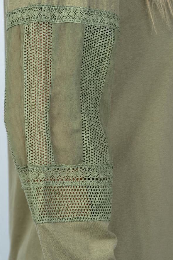 Lace trim fishnet panel top