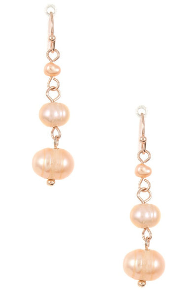 Triple water pearl link drop dangle earring
