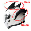 1Storm Motorcycle Modular Flip up Dual Visor Full Face Helmet Black Spoiler