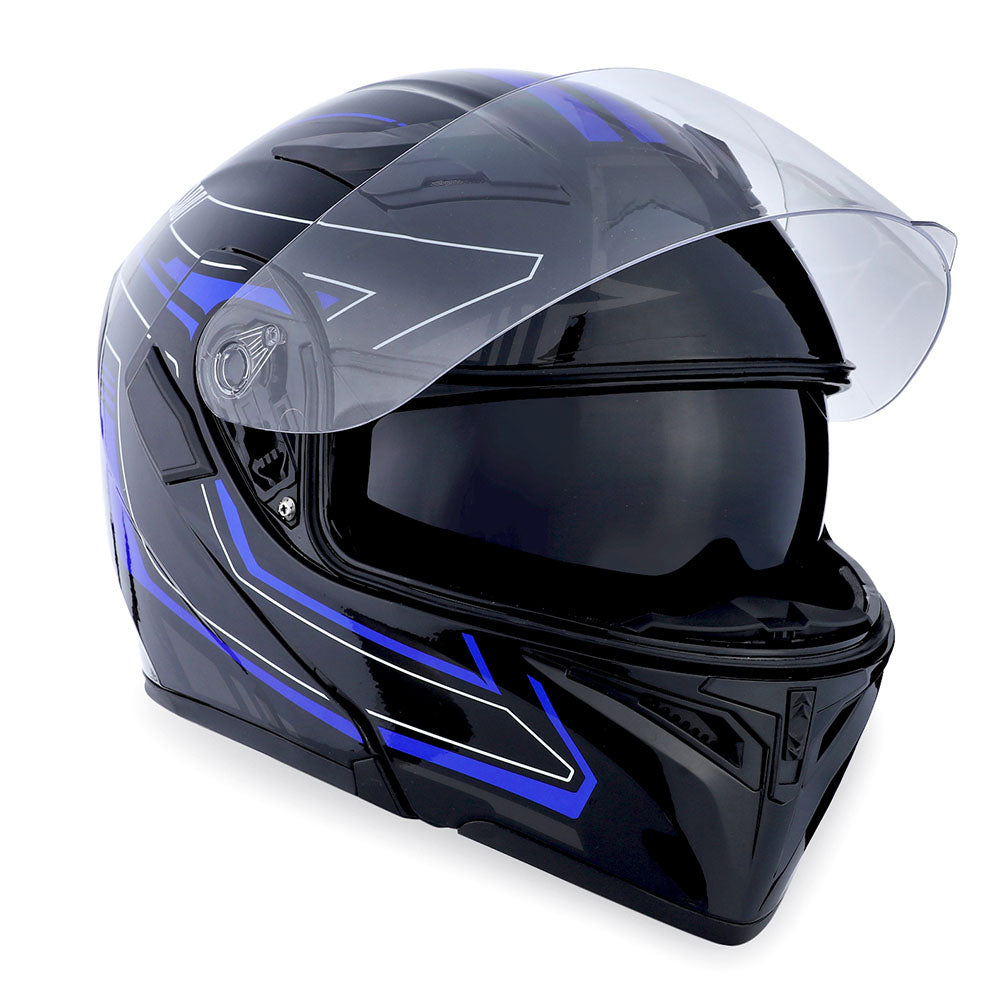 1Storm Motorcycle Modular Full Face Helmet Flip up Dual Visor Sun Shield Helmet: HB89