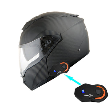Martian Genuine Real Carbon Fiber Motorcycle Modular Flip up Full Face Helmet + Motorcycle Bluetooth Headset: HB-BMF-B10 Matt Carbon Black