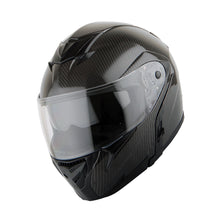 Martian Genuine Real Carbon Fiber Motorcycle Modular Flip up Full Face Helmet HB-B1 Glossy Carbon Black, DOT Approved