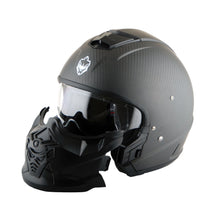 Martian Genuine Real Carbon Fiber Motorcycle Full Face Helmet HB-B2 Open Face Glossy Carbon Black, DOT Approved
