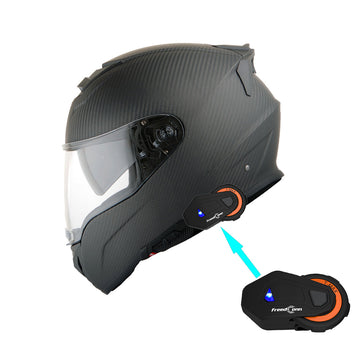 Martian Genuine Real Carbon Fiber Motorcycle Dual Visor Full Face Helmet + Motorcycle Bluetooth Headset: HB-BNF-B7 Matt Carbon Black