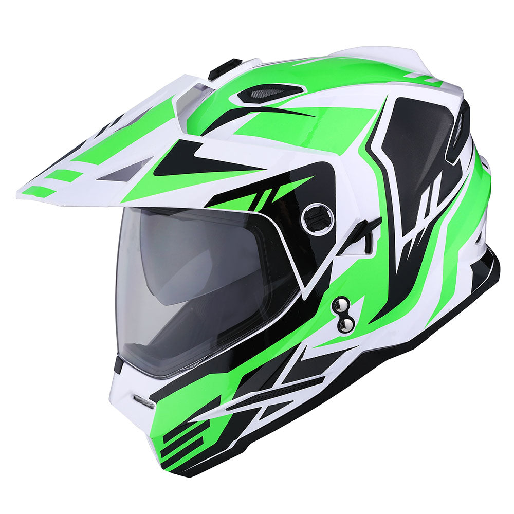 1Storm Dual Sport Motorcycle Motocross Off Road Full Face Helmet Dual Visor: HF802