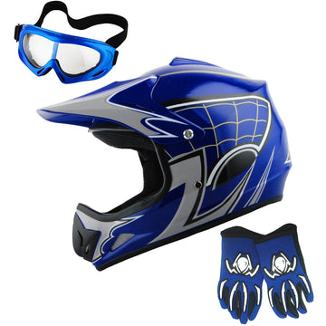 WOW Youth Motocross Helmet HJOY BMX MX ATV Dirt Bike Helmet Spider Web + Goggles + Martian Spider Glove Youth Bundle
