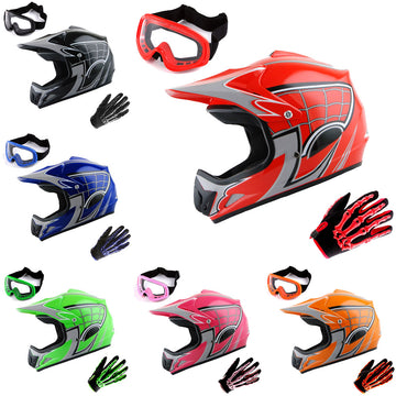 WOW Youth Kids Motocross BMX MX ATV Dirt Bike Helmet HJOY Spider Web + Goggles + Skeleton Glove Bundle