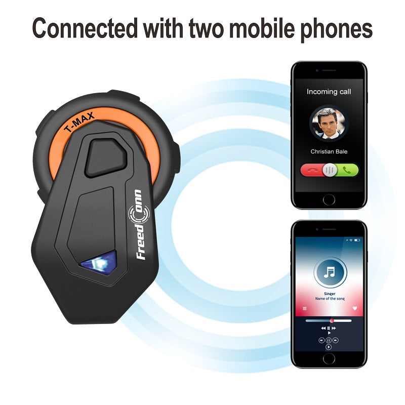 Freedconn New Motocycle Helmet Waterproof and Wireless Bluetooth TMAX-E Group 1000M Intercom Headset with Stereo Music