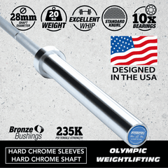 FORCE USA OLYMPIC WEIGHTLIFTING BARBELL (IWF SPECIFICATIONS - COMPETITION TESTED - Garner Fitness Supplies