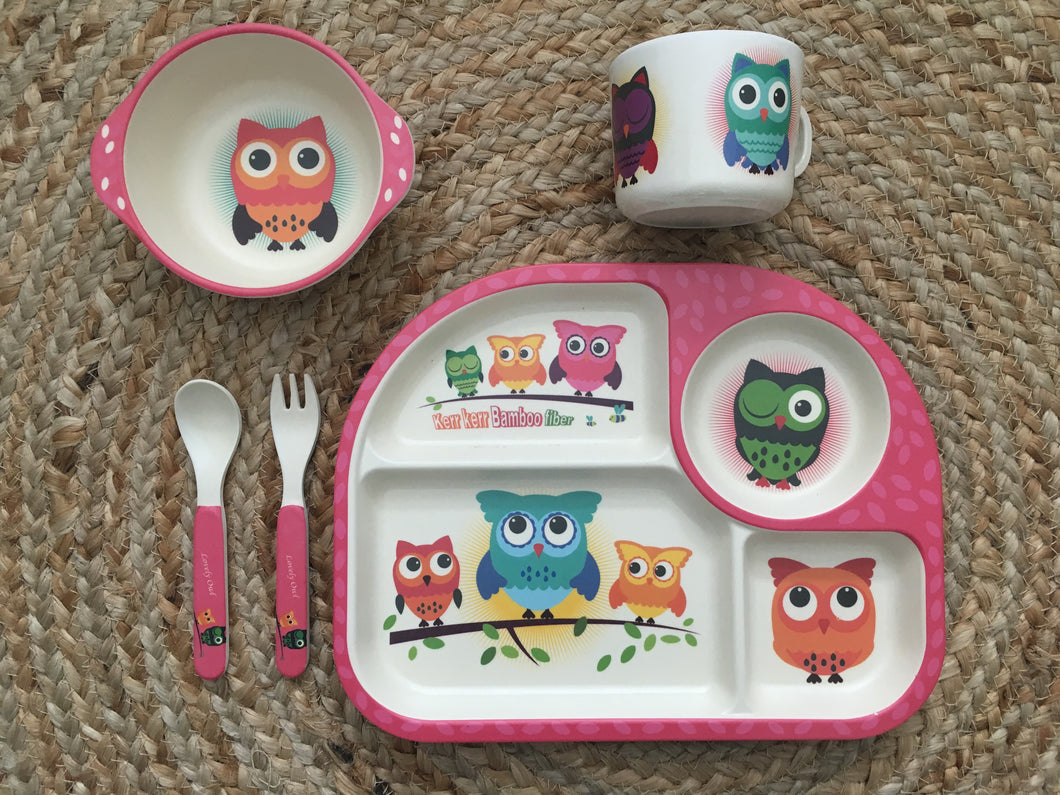 Bamboo fibre 5 piece dinner set - owl