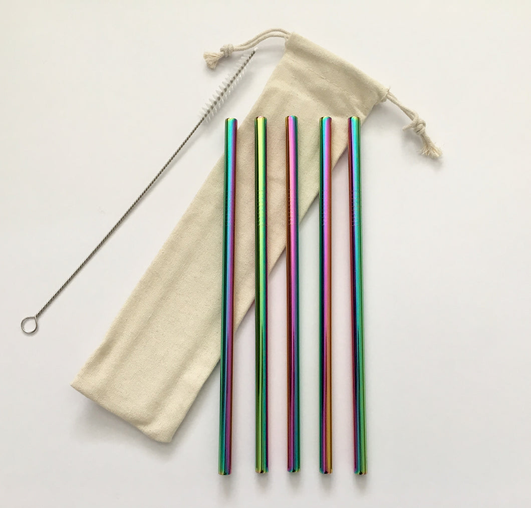 Rainbow reusable straw set