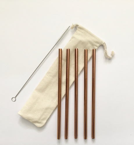 Rose gold reusable straw set