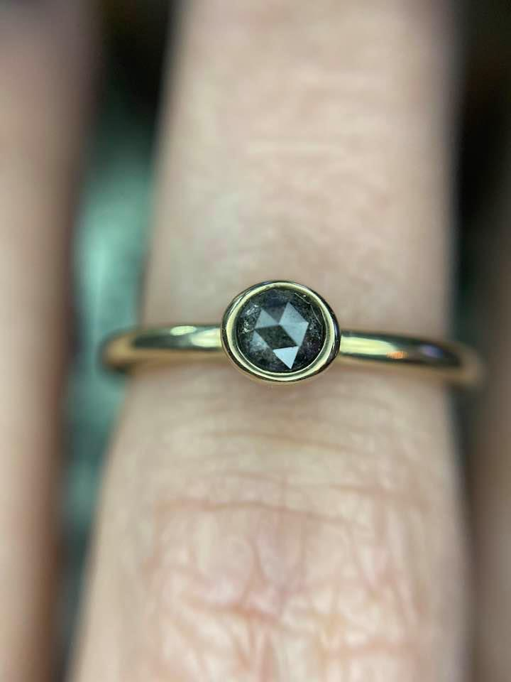 14k Gold Dark Diamond Solitaire